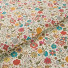 Bavlněné plátno krémové, květinový vzor, š.145