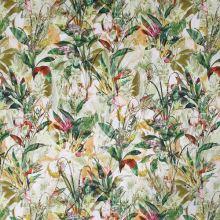 Bavlna bílá, zelený květinový vzor, š.135