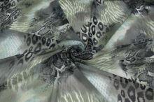 Šifón khaki, zvierací vzor, š.150