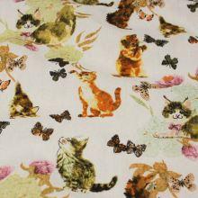 Dekoračná látka biela, mačičky a motýle, š.140