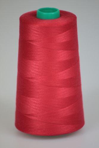 Niť KORALLI polyesterová 120, 5000Y, odtieň 3345, červená-ružová