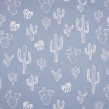 Dekorační materiál modrý, bílé kaktusy, š.150