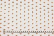 Bavlněné plátno bílé, hnědé hvězdičky, š.140