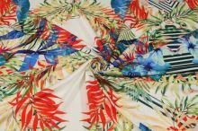 Úplet smotanový, farebné listy a kvety š.145
