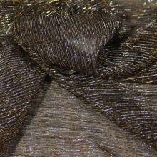 Efektní látka hnědá, zlatý  lurex š.145