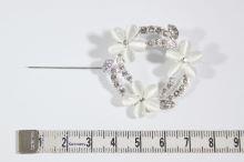 Štrasová ozdoba K16B, brož květy
