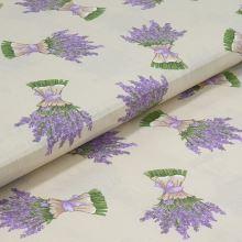 Bavlnené plátno béžové, zväzky levandule, š.140