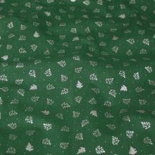 Bavlna zelená, strieborné stromčeky, š.140