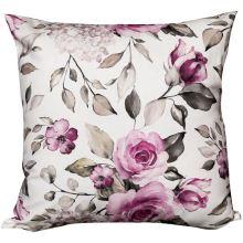 Povlak na vankúš krémový, ružové ruže, 45x45 cm