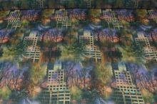 Šifon barevný, stromy a domy š.150