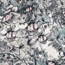 Svetrovina květinový vzor s motýly, š.145