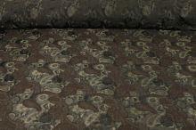 Taft khaki, hnědý vzor, š.160