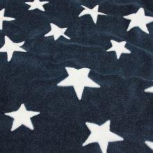 Fleece modrý, biele hviezdy, š.145