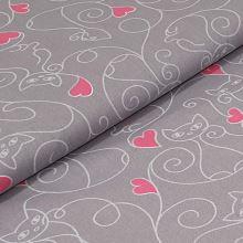 Bavlnené plátno šedé, mačky a ružová srdiečka, š.160