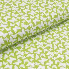 Bavlněné plátno žlutozelené, bílí motýlci, š.140