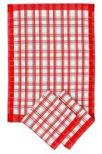 Utierky z egyptskej bavlny, tradičné červené káro, 50x70cm, 3ks
