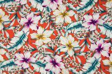 Šatovka 21647 terakotová, farebné ibištekové kvety, š.140