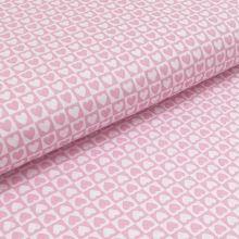 Bavlnené plátno ružovo-biela srdiečka v kocke, š.140