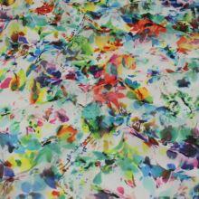 Šifon bílý 17753, barevné květy, š.140