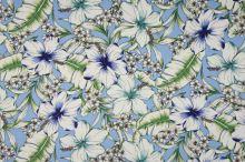 Šatovka 21646 modrá, farebné ibištekové kvety, š.140