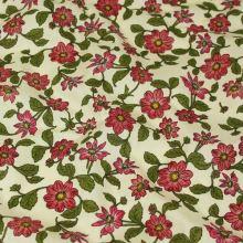 Bavlna smetanová, červené květy, š.140