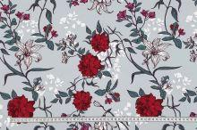 Teplákovina nepočesaná šedá, vínové květy, š.175