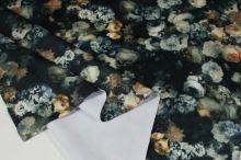 Úplet tmavě zelený, květinový vzor š.150