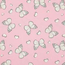 Magický úplet růžový, motýlci s glitry, š.150