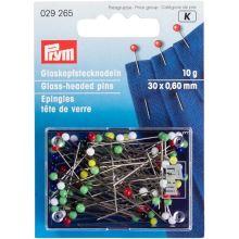 Špendlíky Prym se skleněnou hlavičkou 0,60x30mm, 10g