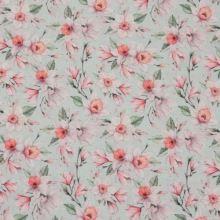 Dekorační látka mint, růžové květy, š.140