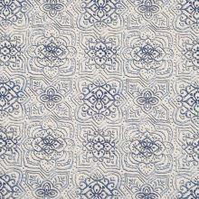 Dekorační látka krémová, modrý vzor, š.140