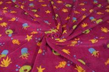Fleece medvídek růžový, mořský svět, š.160