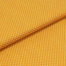 Bavlnené plátno tmavo žluté, biele bodky, š.140