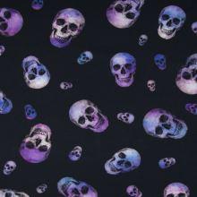 Úplet černý, fialové lebky, š.150