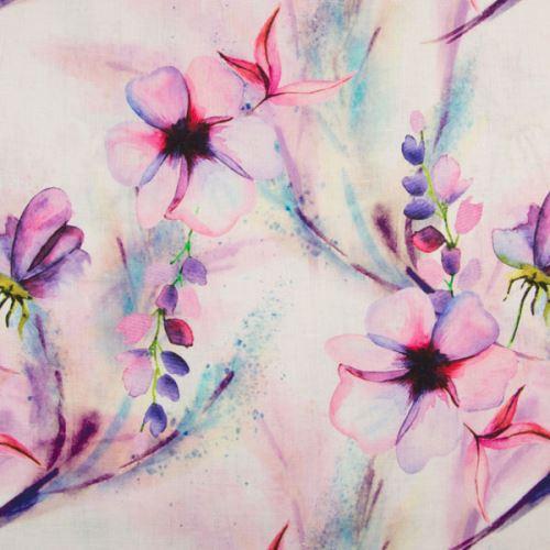 Ľan biely, ružovo-fialové kvety a listy, š.135