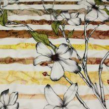 Úplet žluto-hnědé pruhy a květiny, š.150