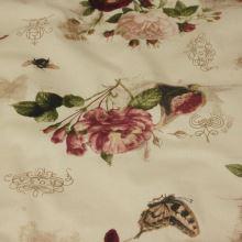 Bavlněné plátno béžové, růže a motýl, š.140