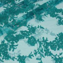 Tyl smaragdová-strieborná výšivka, š.130/140