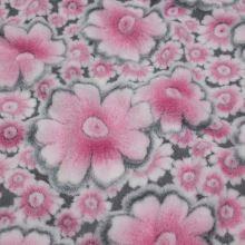 Fleece šedý, růžový květ, š.145