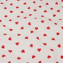 Bavlna biela, červená srdiečka, š.160