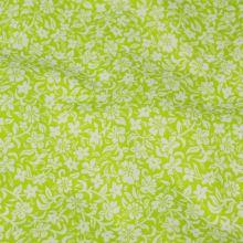 Bavlna kiwi, bílý květinový vzor, š.140