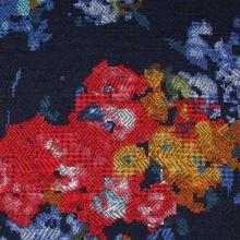Kostýmovka modrá 15194, farebný vzor, š.145