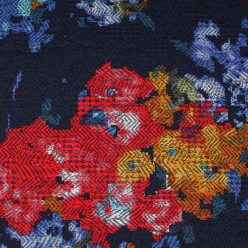 Kostýmovka modrá 15194, barevný vzor, š.145