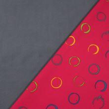 Softshell ružový, farebné kruhy, š.145