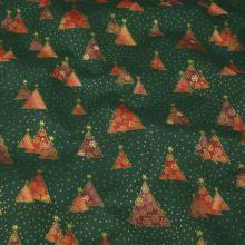 Bavlna zelená, vánoční stromečky, š.140