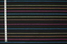 Košeľovina čierna, farebný pruh, š.150