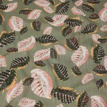 Šatovka khaki, farebné listy, zlatý pruh, š.135