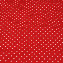 Bavlna červená, bílý puntík, š.160