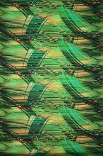 Satén zelený, žlto-čierne prúžky, š.145