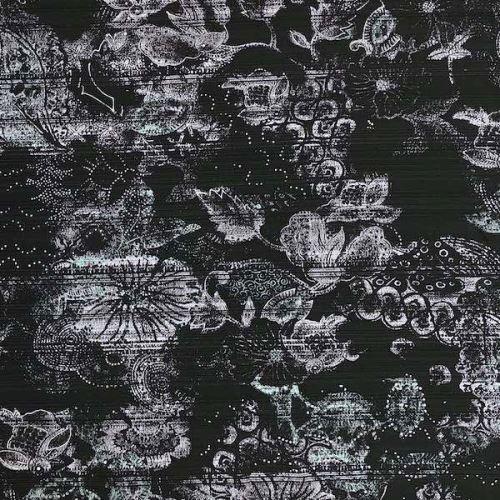 Košeľovina 09928 čierna, šedé kvety a čierne pruhy, š.145